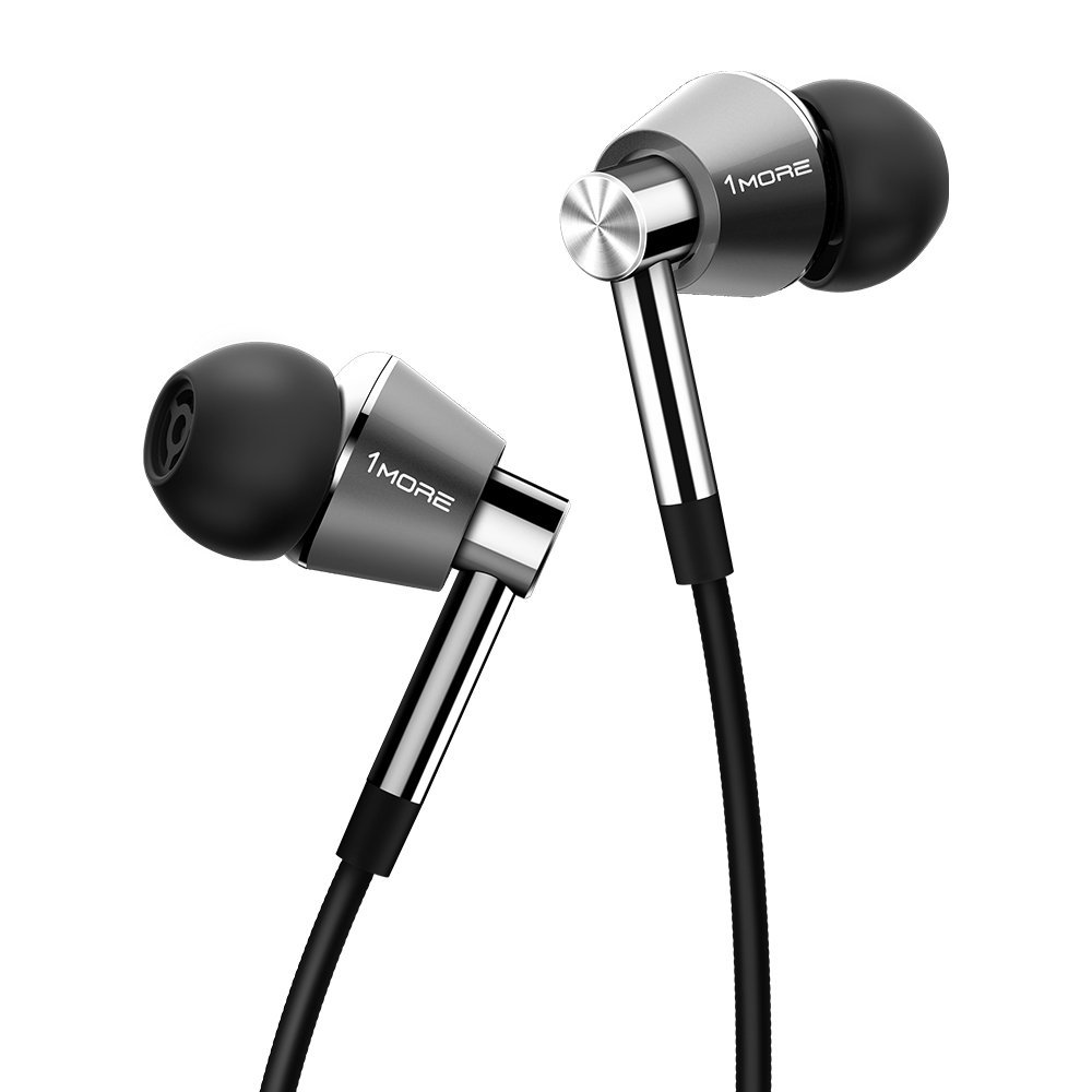 1MORE E1001 Triple Driver In-Ear Headphones for Apple and Android (3.5mm Headphone Plug) - Titanium