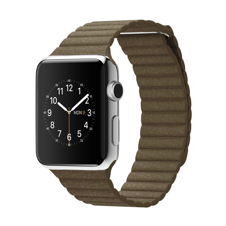 Apple Watch MJ402 42mm Stainless Steel Case with Brown Leather(Medium)